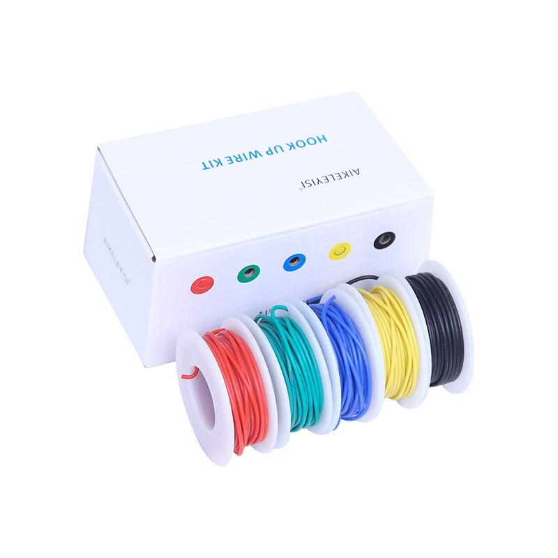 30/28/26/24/22/20/18awg гибкий силиконовый провод кабель 5 цветов электронный многожильный провод из луженой силиконовый провод