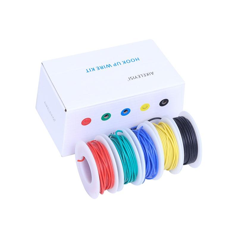 30/28/26/24/22/20/18awg Flexible Silikon Draht Kabel 5 farbe elektronische litze verzinnt silikon draht DIY