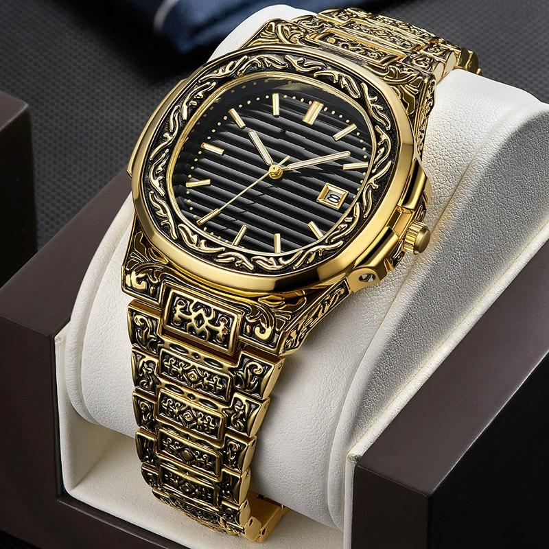 Fashion quartz Man watch men Brand luxury Retro golden stainless steel watches men gold mens watch female reloj hombre|Quartz Watches| - AliExpress