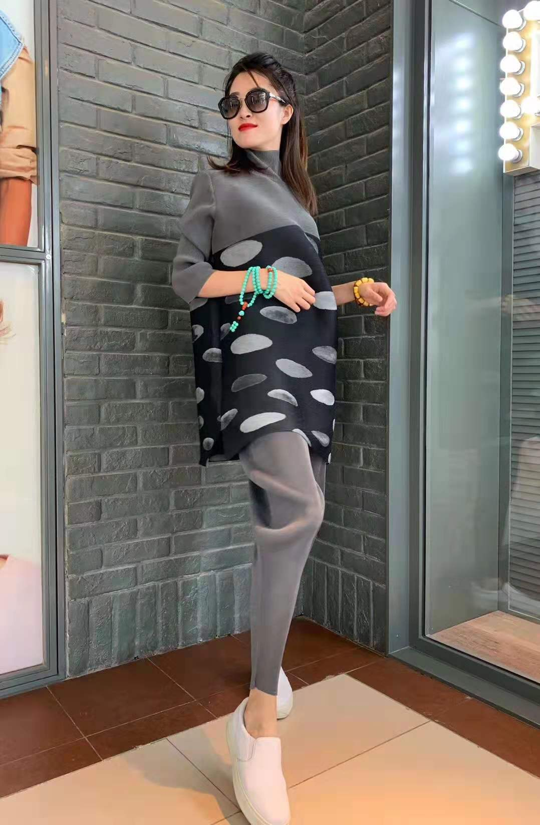 Miyake plis nouveau femmes à pois femmes minceur robe femmes robe élégante grande taille vestido femmes vêtements