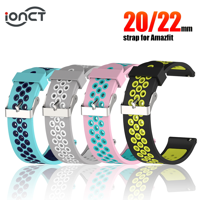 IONCT Sport Silicone Bracelet For Huami Amazfit Bip Strap Watchband For Xiaomi Amazfit Pace Stratos 2 GTS GTR 47MM Strap