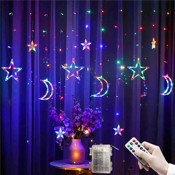 3.5M LED Star Moon Curtain Lights Christmas Garlands String Fairy Lights  Outdoor For Home Wedding Holiday Party New Year Decor 220v 138pcs led fairy string lights star curtain lights waterproof outdoor christmas decorations for home wedding garlands natal