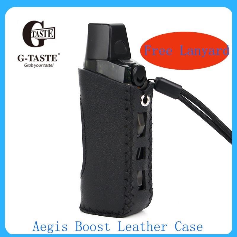Leather Case For Accessories Aegis Boost Protective Case Handmade Cover With Free Lanyard Vape Accessoy