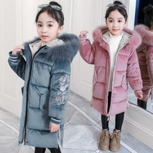Новинка года; детская одежда зимняя теплая куртка для девочек утепленная Вельветовая куртка Длинная ветровка с капюшоном; бархатная одежда; j