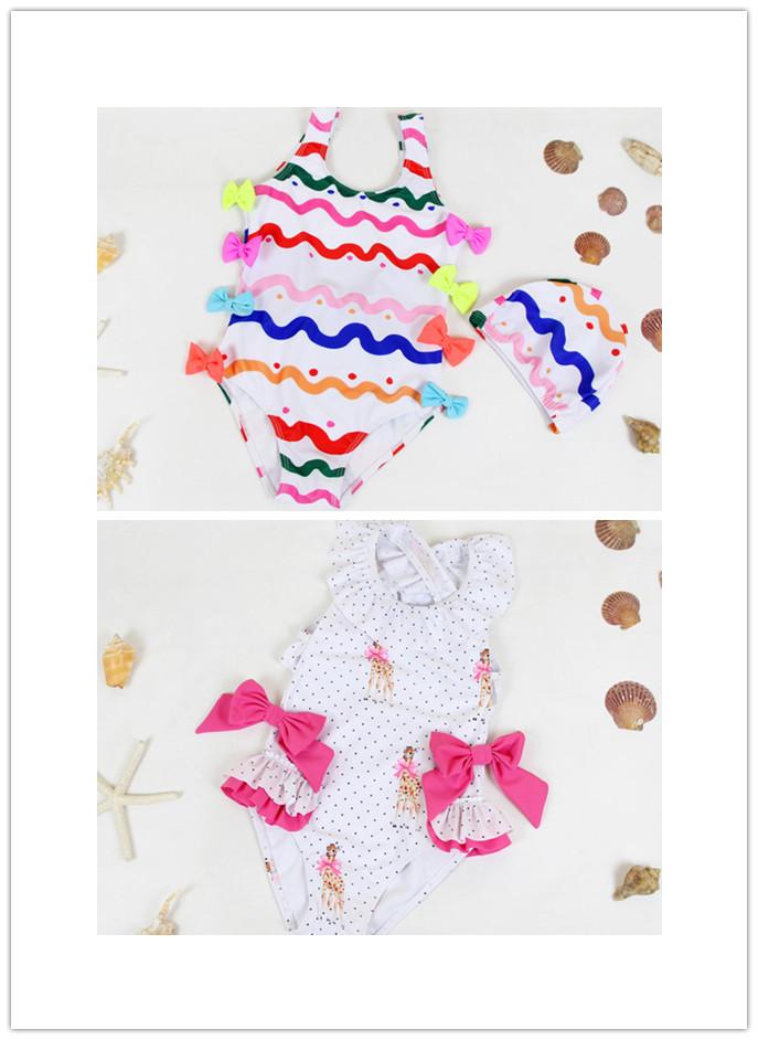 Bathing Suit 2019 Summer INS Europe And America GIRL'S One-piece Swimming Suit Ke Ai Lu Baby Swimming Hot Springs Tourism Swimwe
