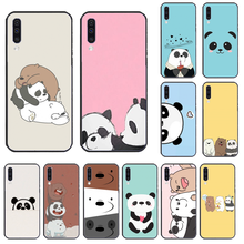 Schattige Beer Panda Patroon Cover Black Soft Shell Telefoon Geval Voor Samsung A50 60 70 A6 2018 Plus A8 2018 a7 A9 750 920(China)
