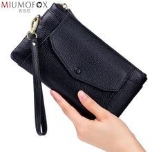 Billetera de cuero genuino para mujer, para teléfono ultradelgado bolso de mano, monedero pequeño