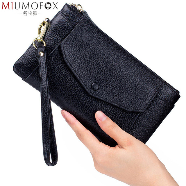 Fashion Women Wallets Handbag Genuine Leather Pouch Ultra thin Wristlet Clutch Lady Cash Phone Coin Purse Small Clutch Pouch