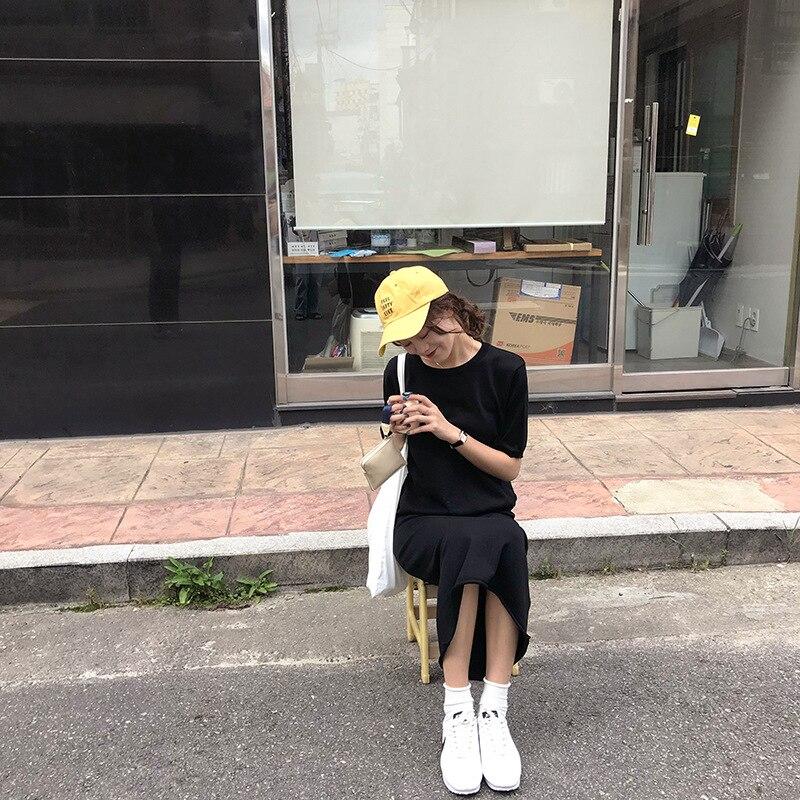 Zz5051 [Yellow Zheng] 2018 Autumn WOMEN'S Dress Korean-style Crew Neck Short Sleeve Knit Sleeves + High Waist Skirt Leisure Suit