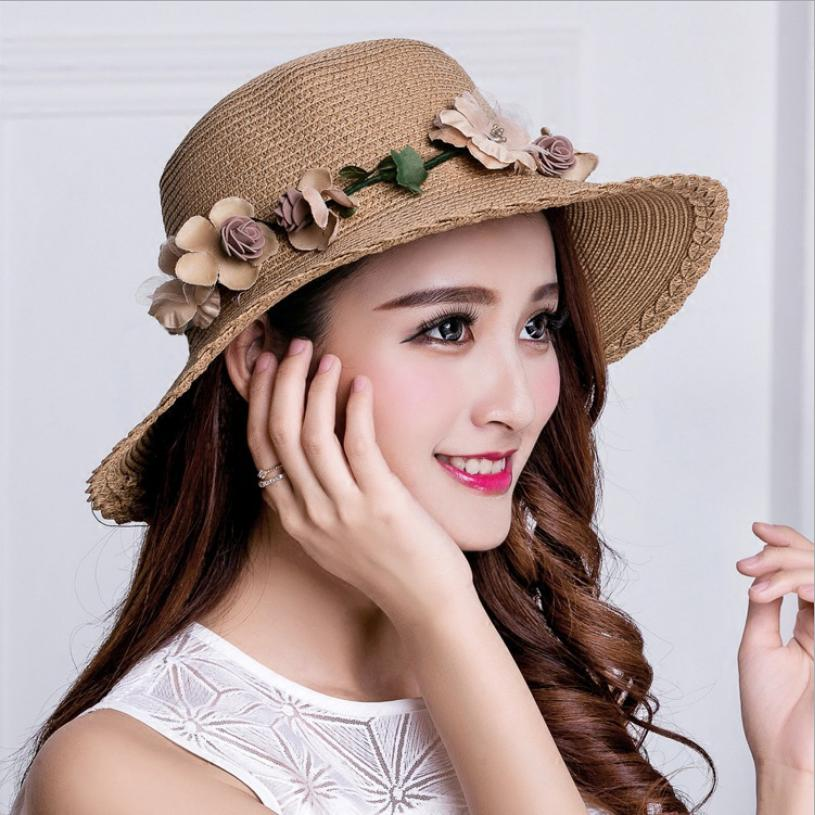 Korean-style Summer Visor UV-Protection SUN Hat WOMEN'S Wreath Cool Sun-Protection Beach Hat Straw Hat