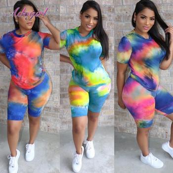 Women Tracksuit Summer Two Piece Set Casual Tie Dye Short Sleeve Crop Tops T-Shirt Biker Pants Suit Outfit Soprt Jogging Fitness