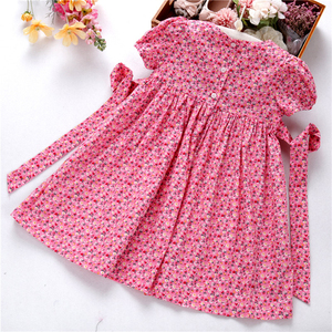 Image 5 - smocked dresses for girls frock handmade cotton baby clothes summer kids dress embroidery Party holiday school boutiques
