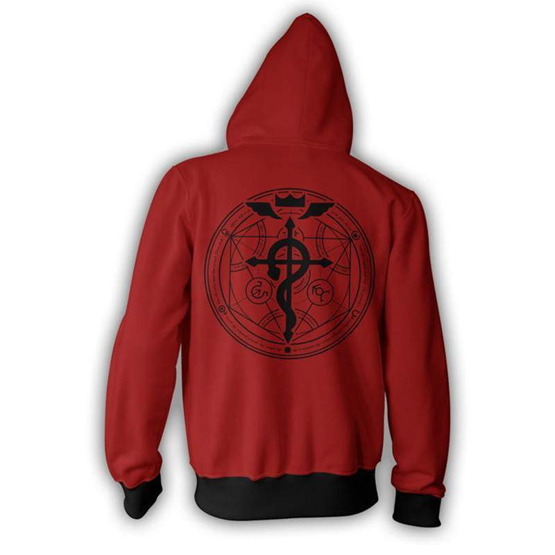 Japanese Anime Fullmetal Alchemist Edward Elric Cosplay 3D Printed Hoodie Adult Zipper Hooded Sweatshirt Autumn Harajuku Coat in Anime Costumes from Novelty Special Use