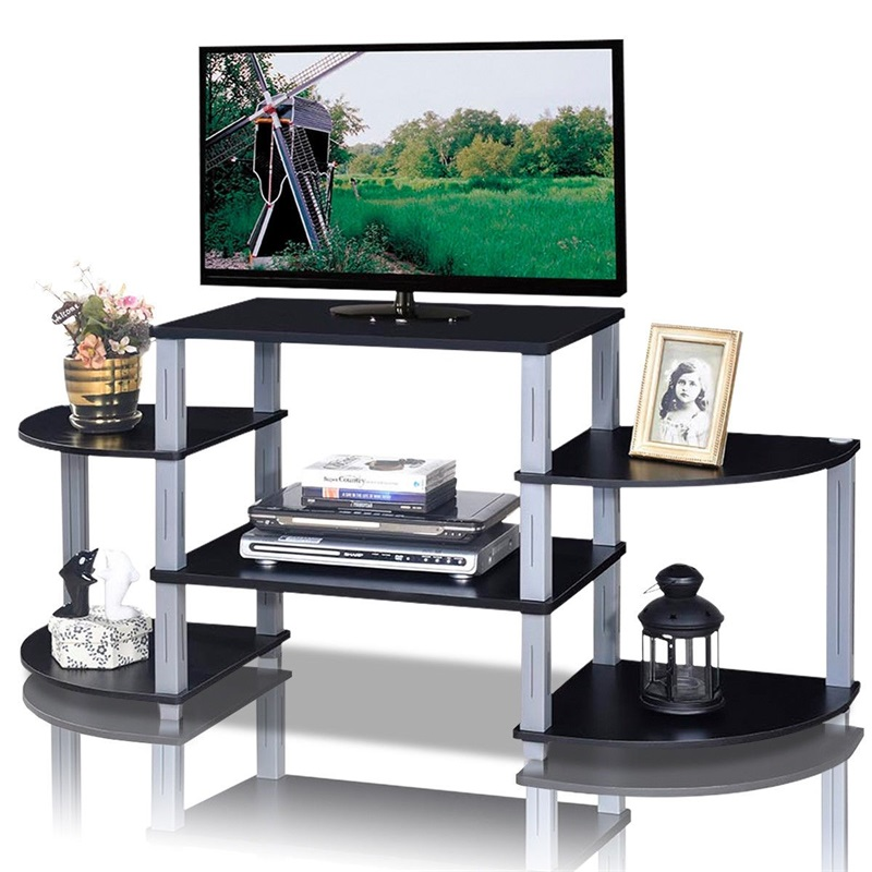 3-Cube Flat Screen TV Stand Storage Shelves MDF Black Brown TV Shelf Stylish And Smart Design Multiple Shelves For Extra Storage