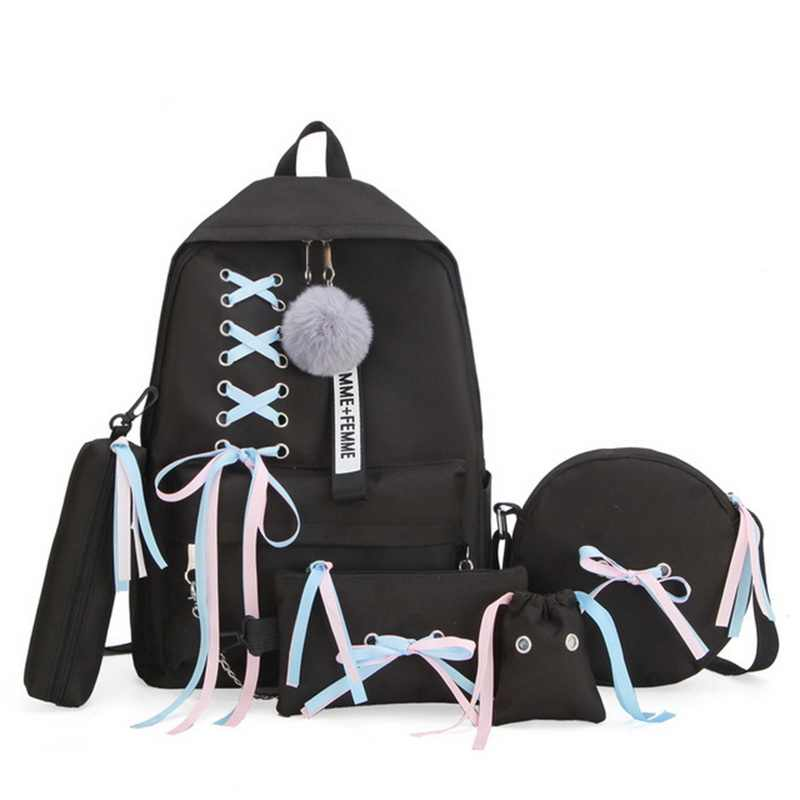 SHUJIN 5pcs/set School Bag for Teenage Solid Backpack Schoolbag Women Student Bag Lace Bow Bundle Backpack Drop shipping