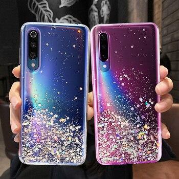 Перейти на Алиэкспресс и купить Роскошный блестящий мягкий прозрачный чехол со звездами для Xiaomi Mi 8 9 Lite SE A3 Lite 9T Redmi Note 8T 6 7 8 Pro K30 K20 8A 7A
