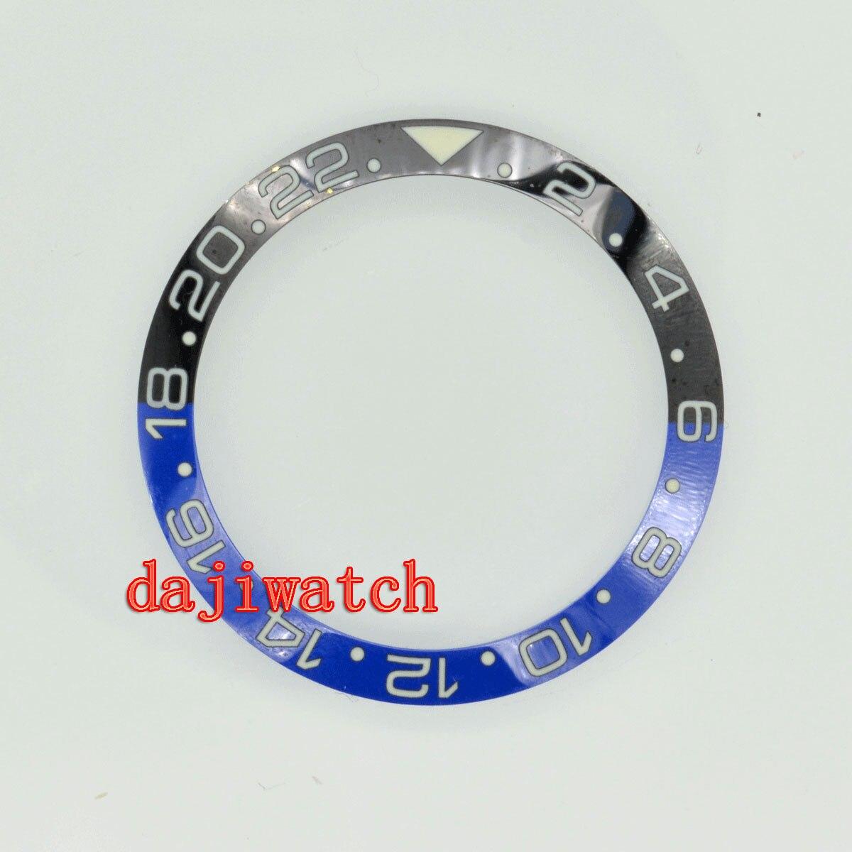 Luxo gmt parnis relógio masculino 38mm preto