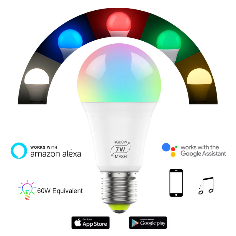 Bluetooth 7W RGBW Led Bulb BT Mesh Net Group Smart Led Light Color Change Dimmable By IOS / Android APP