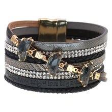 Роскошный женский браслет ручной работы богемные кожаные браслеты