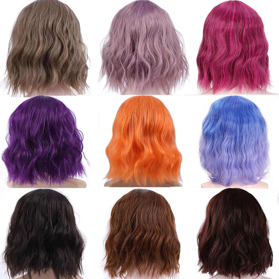 SHANGKE Bob kısa sapıkça kıvırcık sentetik peruk siyah saç patlama doğal görünümlü ısıya dayanıklı iplik saç siyah kadınlar için