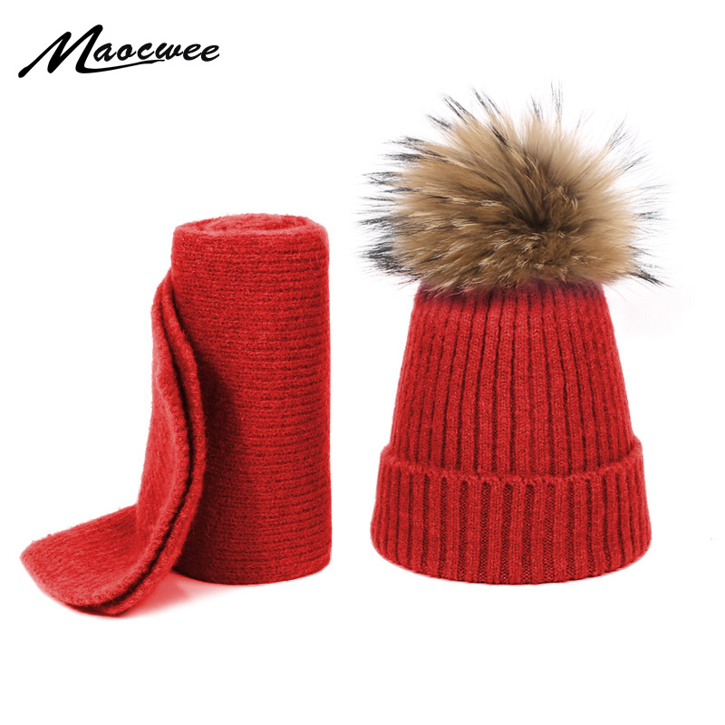 Knitted Pompom Skullies Beanies Hat Scarf Set For Children Winter Wool Real Fur Pompon Warm Cotton Hat Outdoor Hat And Scarf Set