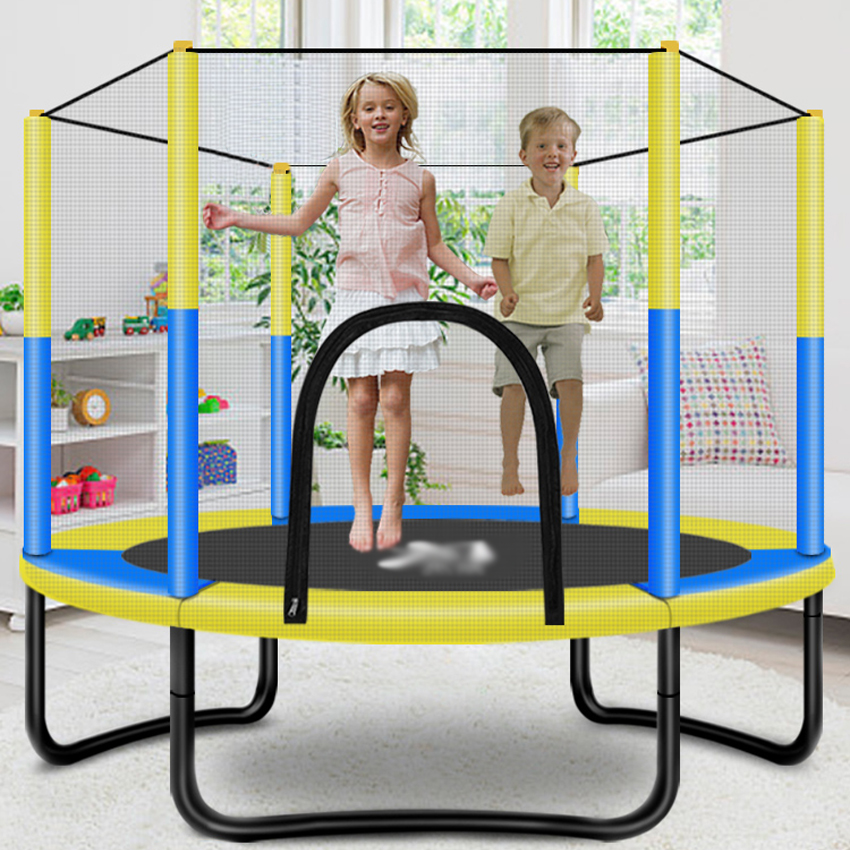 60 Inch Round Kids Mini Trampoline Enclosure Net Pad Rebounder Outdoor Exercise Home Toys Jumping Bed Max Load 250KG PP,Alloy