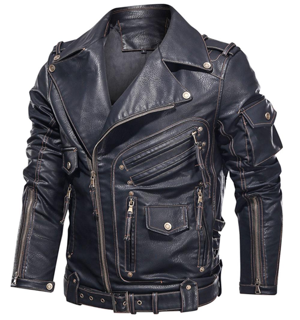 Leather Jacket Motorcycle PU Leather Jacket Men Cool Zipper Multi-pocket Leather Bike Chaquetas Hombre Mens Winter Coats