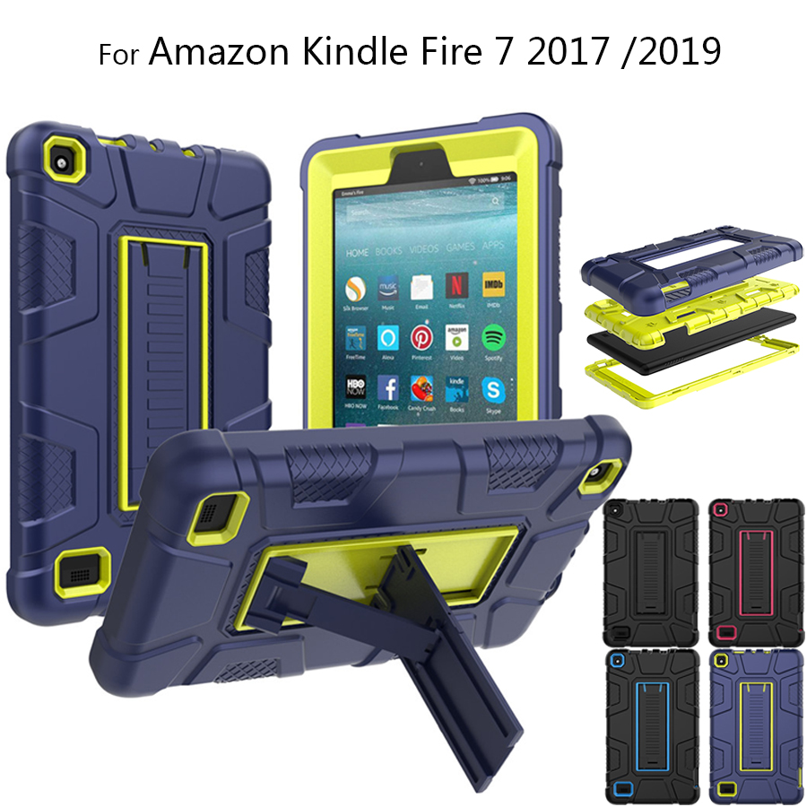 For Amazon Kindle Fire 7 2019 Case Dual Layer Hybrid Shockproof e-Reader Tablet Cover For Amazon Fire 7 2017 2019 Protect Case