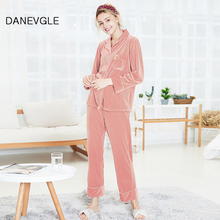 Womens autumn and winter pajamas set thick warm gold velvet high quality ladies home service