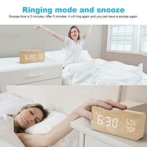 Image 2 - FiBiSonic LED Wooden Alarm Clock Sound Control Digital Alarm Clock USB/Battery Dimmer Indoor Snooze Thermometer Table Clock