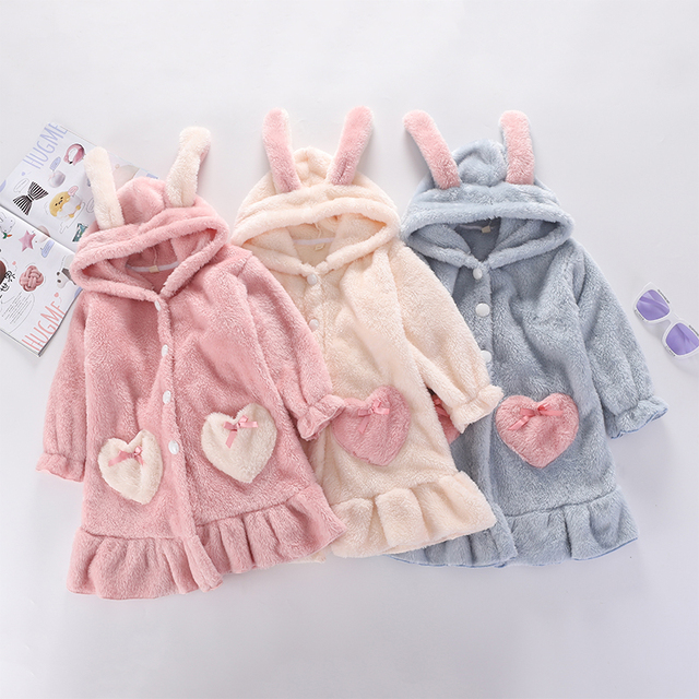 Kids Girl Robe 2020 Bathrobe Hooded for Girl Pyjamas Nightgown Double-sided Soft Flannel Pyjamas Children Warm Clothes 3-12Years 4