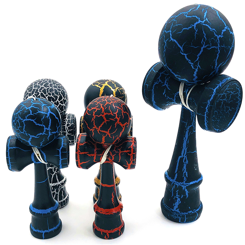 Professional Kendama Colorful Crack Coating Wooden Toy Outdoor Skillful Juggling Ball Toy Stress Ball For Children Training