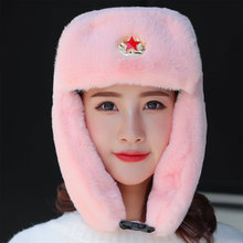 Winter Hat Ms Warm Unisex Aviator Cap Rabbit Fur Five-pointed Star Cap Russian Skiing Cold Rabbit Fur Bomber Ladies Winter Hats стоимость