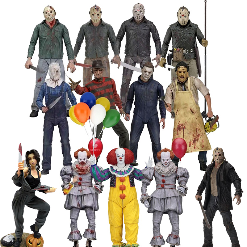 NECA 3D 13th Friday Jason Leatherface Chainsaw John Carpenter's Michael Myers Freddy Krueger Pennywise Joker Action Figure Toy