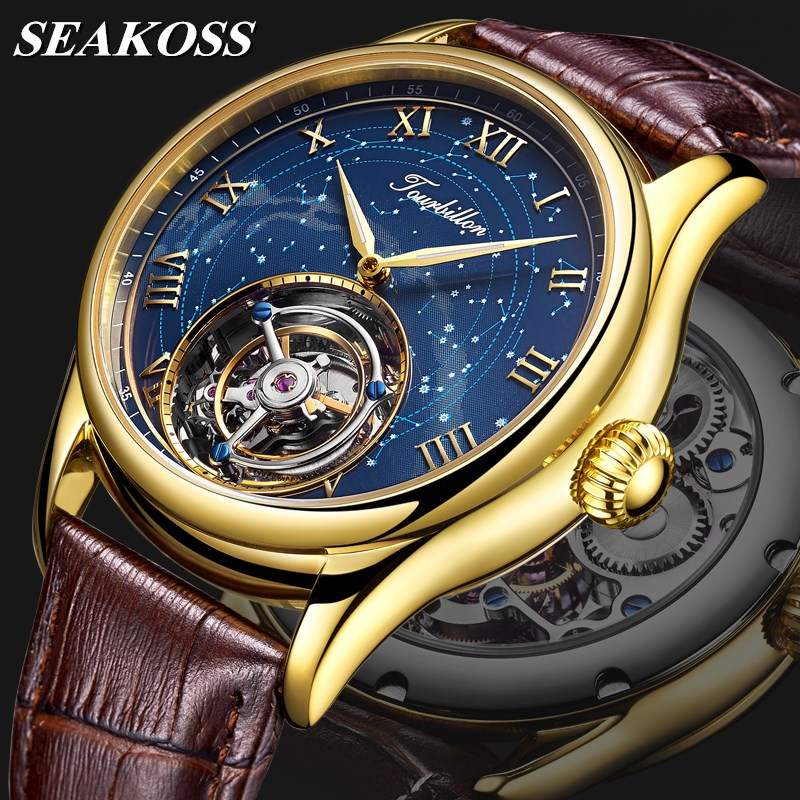 Top Brand Luxury Men Real Tourbillon Watches Sapphire Crystal Dial Genuine Leather Hollow Skeleton Mens Mechanical Watch Seakoss 1