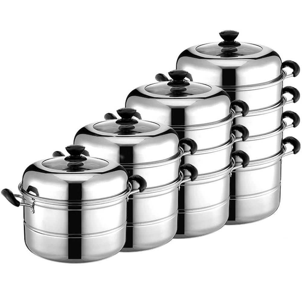 Olla de vapor de 2 capas Utensilios de cocina de acero inoxidable Cocina Verduras Alimentos Huevos Calderas Cocina de camarones al vapor Caldera de doble capa Sopa Utensilios de cocina 27 cm//11 pulga