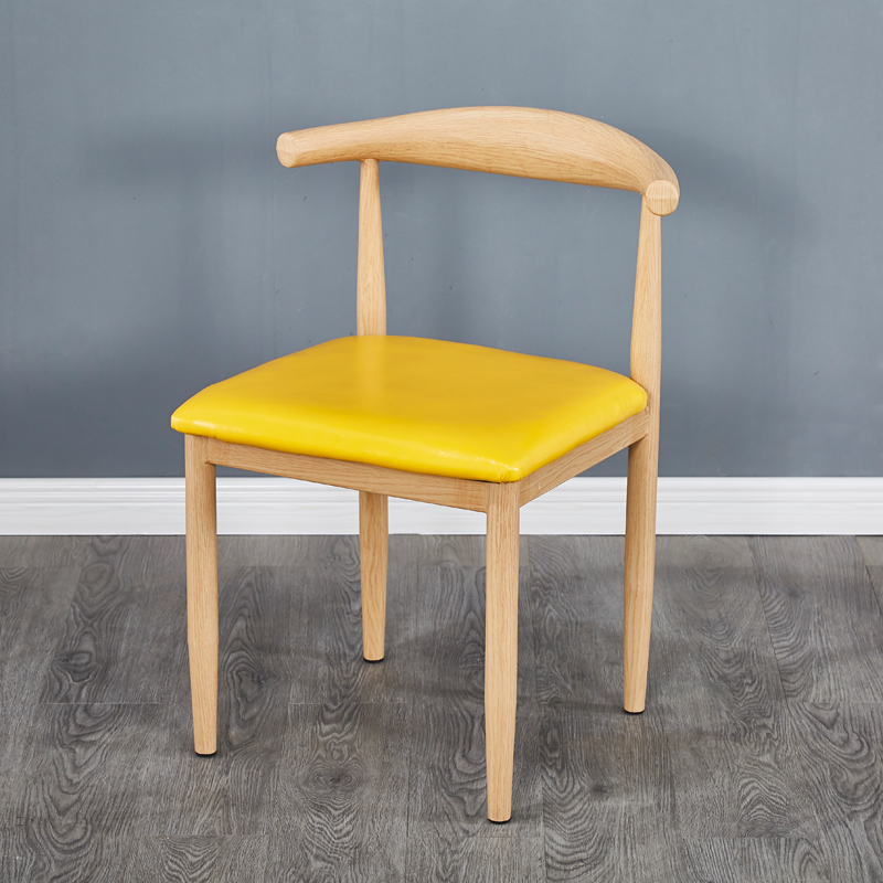 Imitation Solid Wood Iron Horn Chair Back Dining Chair Simple Milk Tea Sweet Shop Coffee Restaurant Tables And Chairs