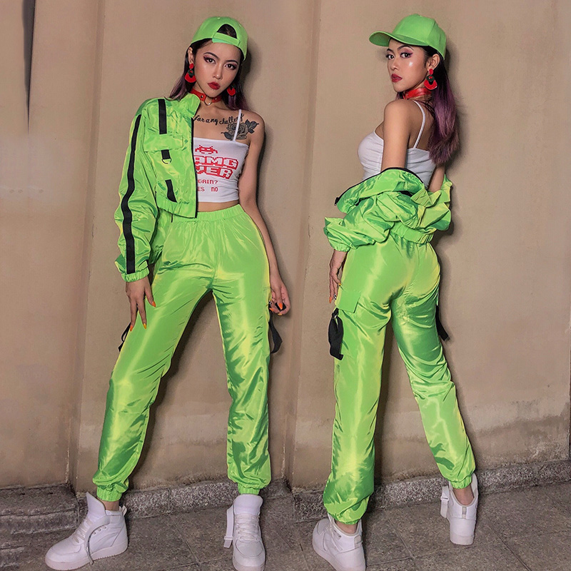 Fluorescent Green Jazz Dance Costumes Women Loose Street Dancing Clothing Nightclub Sports Short Jacket Hip Hop Ds Outfit DN4667