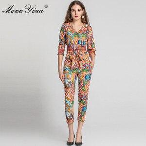 Image 4 - MoaaYina Fashion Designer Set Spring Summer Women V neck Vintage Baroque Print Tops+Pencil pants Two piece suit