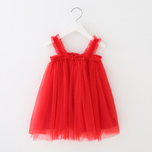 Toddler  Infant Summer New Baby Girls Sling Mesh Children  Princess Dress Lace Solid Tutu Girl Clothing 2019 summer new girls dress baby princess mesh dress tutu child flower vestido children clothing baby costume