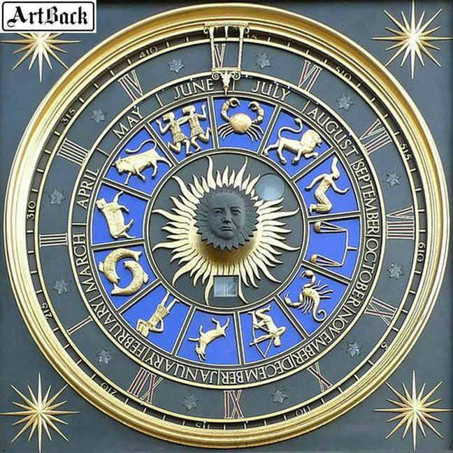 Мозаика часы с созвездием картина 5D DIY Алмазная картина полный квадратный Набор алмазной вышивки 3d стикер украшения 60x60 см