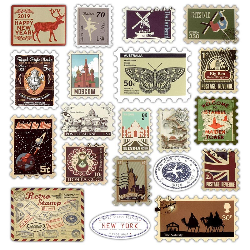 Retro Stamps Stickers Laptop Stickers Various Countries Stamps Laptop Sticker For Ps4 For Ipad DIY To Laptop Skin Refrigerator