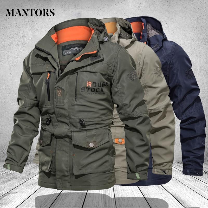 Jacke Männer der Winddicht Wandern Jacken Outdoor Berg & Wandern Military Trekking Jacke Männer Windjacke Mäntel Multi Taschen 4XL