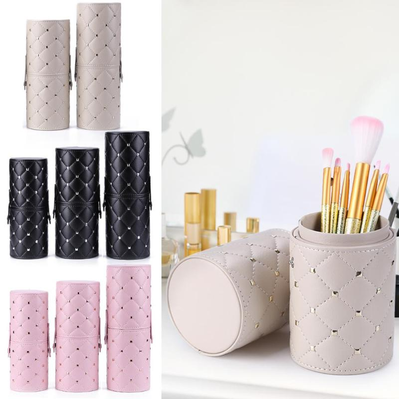 PU Leather Portable Makeup Brush Storage Case  Cylinder Shape Travel Pen Container Holder Cosmetic Tools Container Make Up Tools