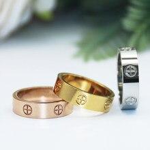Moda cruz titanium aço metal jóias anéis para mulheres casais da menina do homem no noivado do casamento do amor com cristal de pedra