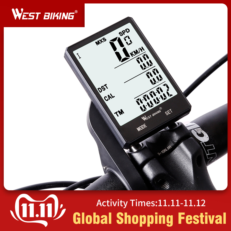 WEST BIKING Waterproof Bicycle Computer With Backlight Wireless Wired Bike Speedometer Odometer Stopwatch
