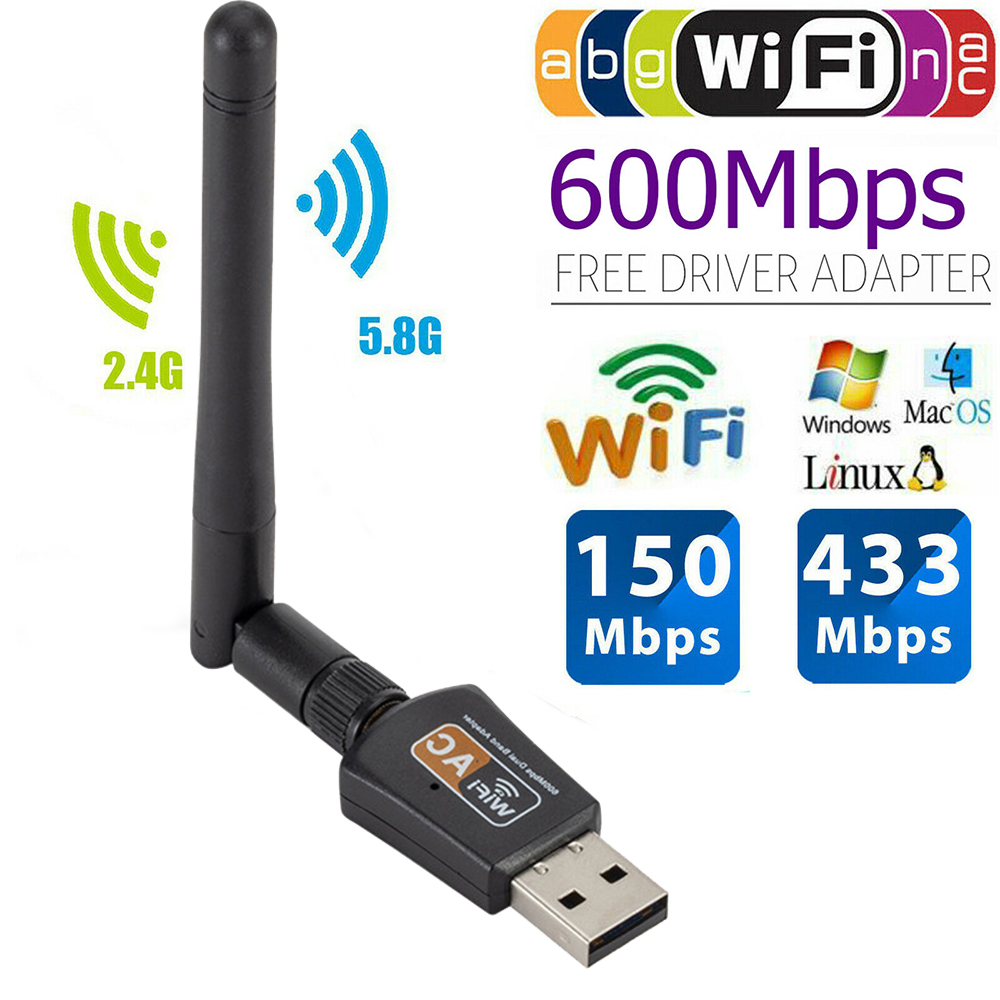 600Mbps Wifi Adapter Dual Band 5GHz 2.4Ghz 802.11AC Wireless USB Wifi Antenna Dongle Network Card For Laptop Desktop image