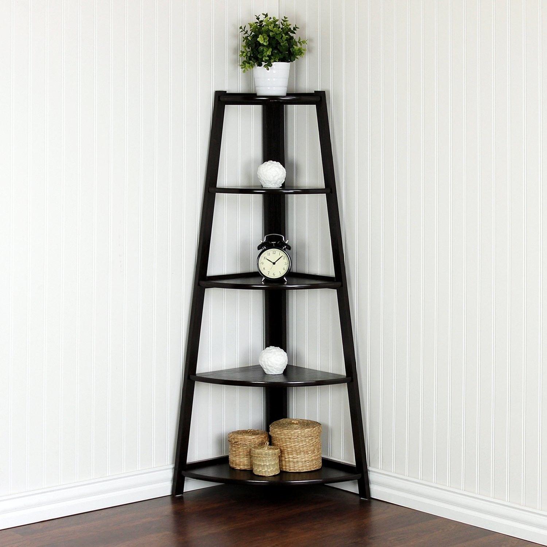 Portable 5 Tier Corner Shelf Stand Wood Display Storage Home Furniture Black