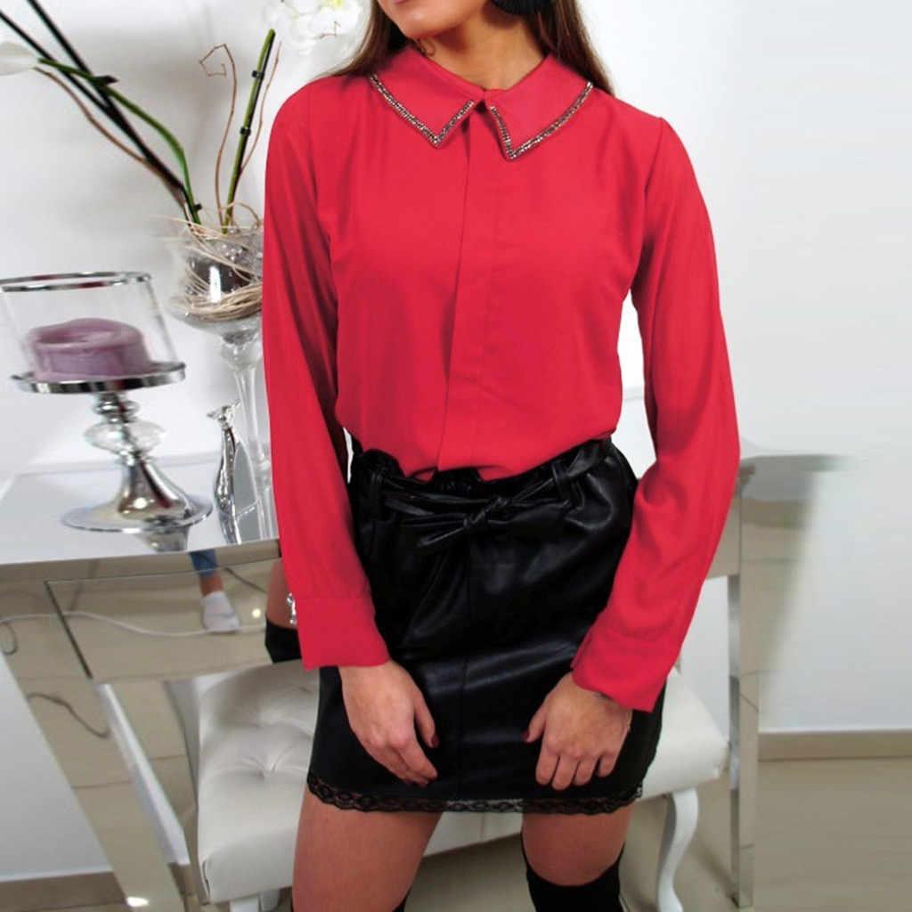 Hxroolrp 2019 Новый стиль Лидер продаж Женская отложной воротник длинный рукав Повседневная Офисная Рабочая шифоновые блузки рубашки топы F1