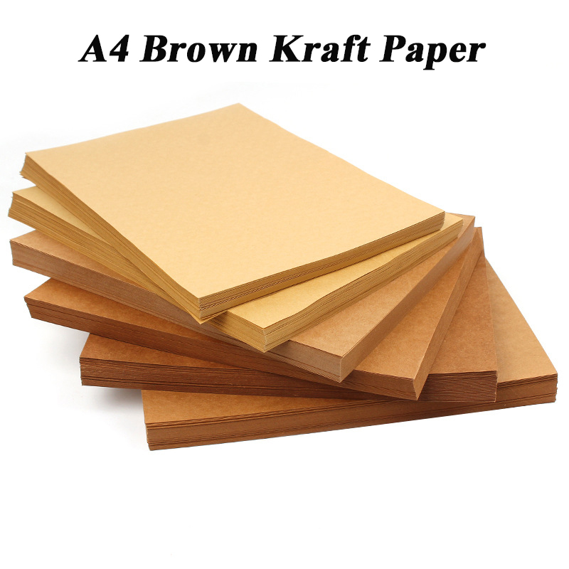 A4 Brown Kraft Paper DIY Handmake Card Making Craft Paper Thick Paperboard Cardboard 200g 300g 400g 10/20/50pcs High Quality